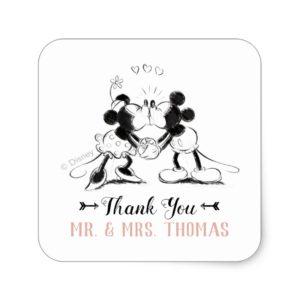 Mickey & Minnie | Pink Confetti Wedding Square Sticker
