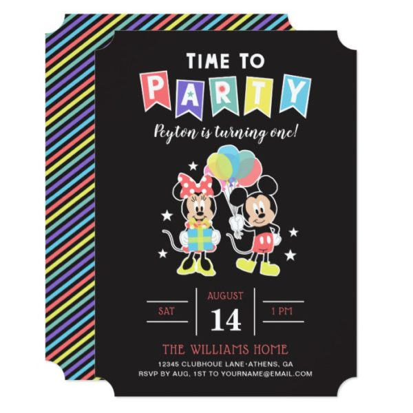 Mickey & Minnie | Time to Party Invitation