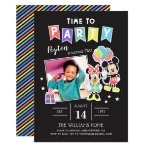 Mickey & Minnie   Time to Party - Photo Invitation