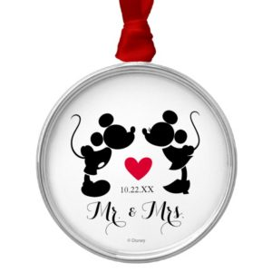 Mickey & Minnie Wedding | Silhouette Metal Ornament