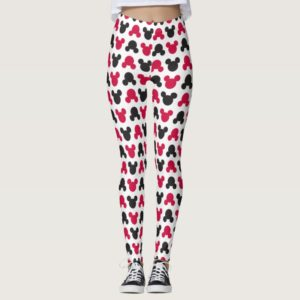 Mickey Mouse   Black and Red Pattern Leggings