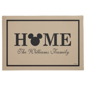 Mickey Mouse Head Silhouette   Home with Name Doormat