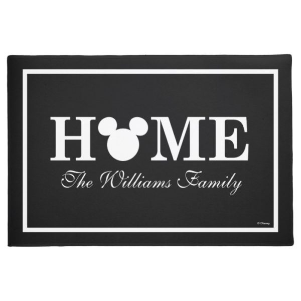Mickey Mouse Head Silhouette | Home with Name Doormat