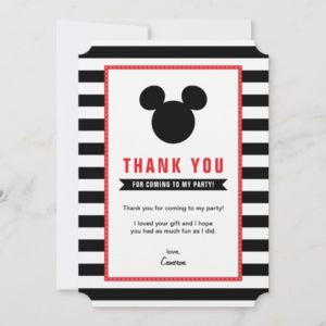 Mickey Mouse | Icon Black & White Stripe Thank You