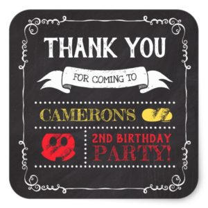 Mickey Mouse Icon Chalkboard | Thank You Square Sticker