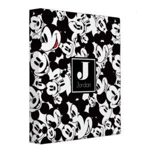 Mickey Mouse | Monogram Crowd Pattern 3 Ring Binder