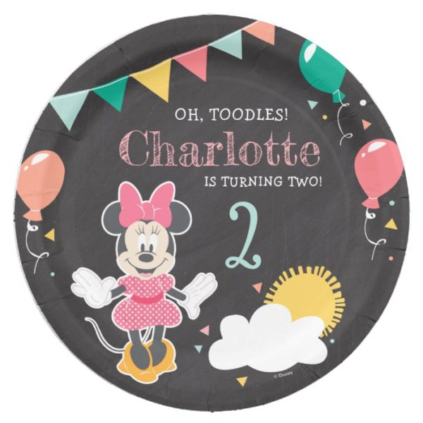 Minnie Mouse Birthday Chalkboard Paper Plate