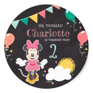 Minnie Mouse Chalkboard Birthday Classic Round Sticker