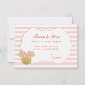 Minnie Mouse | Gold & Pink Birthday Thank You