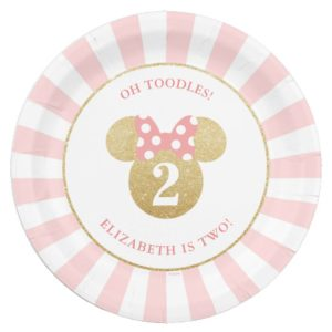 Minnie Mouse   Gold & Pink Striped Birthday Paper Plate