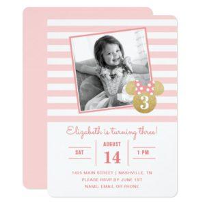 Minnie Mouse   Gold & Pink Striped Photo Birthday Invitation