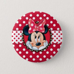 Minnie Mouse | Smiling on Polka Dots Pinback Button