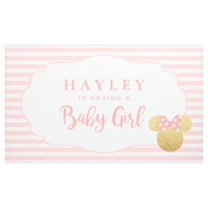 Minnie | Pink Striped Gold Glitter Baby Shower Banner