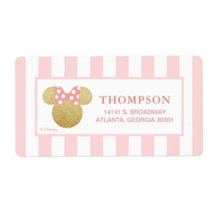 Minnie   Pink Striped Gold Glitter Baby Shower Label