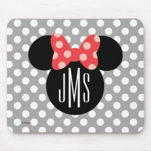 Minnie Polka Dot Head Silhouette | Monogram Mouse Pad