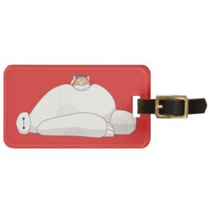 Mochi Laying on Baymax Bag Tag