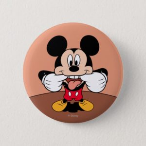 Modern Mickey   Sticking Out Tongue Pinback Button
