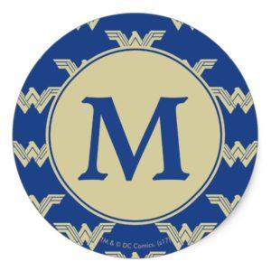 Monogram Wonder Woman Logo Pattern Classic Round Sticker