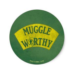 MUGGLE WORTHY™ CLASSIC ROUND STICKER