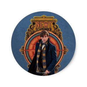 NEWT SCAMANDER™ Walking Art Nouveau Panel Classic Round Sticker