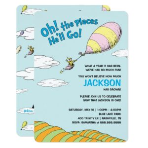 Oh! The Places He'll Go! - First Birthday Invitation