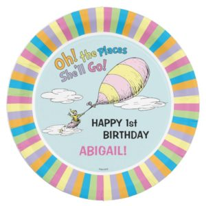 Oh! The Places She'll Go! - First Birthday Paper Plate