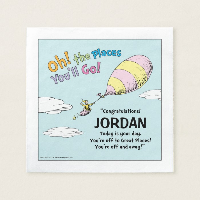 Oh The Places Youll Go Graduation Announcement Paper Napkin