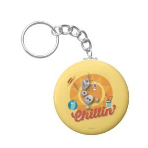 Olaf | Chillin' in Orange Circle Keychain