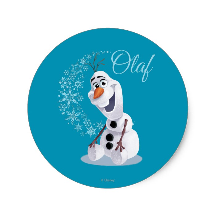 Personalised Olaf from Disney/'s Frozen Christmas Round Stickers Labels