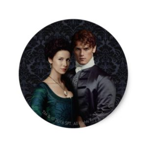 Outlander | Claire And Jamie Damask Portrait Classic Round Sticker