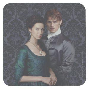 Outlander   Claire And Jamie Damask Portrait Square Paper Coaster
