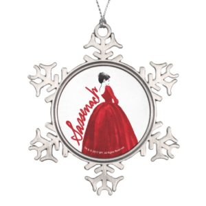 Outlander   Claire In A Red Dress Sassenach Snowflake Pewter Christmas Ornament