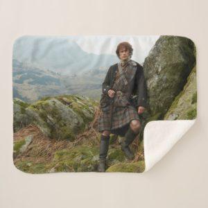 Outlander | Jamie Fraser - Leaning On Rock Sherpa Blanket