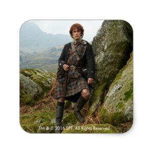 Outlander | Jamie Fraser - Leaning On Rock Square Sticker