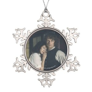 Outlander Season 3 | Jamie and Claire Affection Snowflake Pewter Christmas Ornament