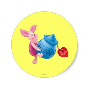 Piglet and Hunny Pot Classic Round Sticker