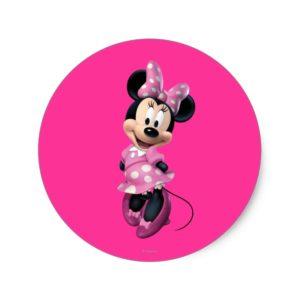 Pink Minnie   Hands Behind Back Classic Round Sticker