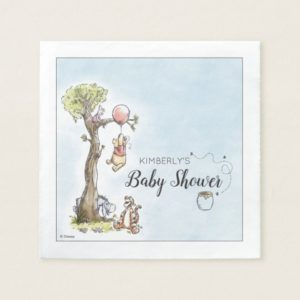 Pooh & Friends Watercolor   Baby Shower Napkin