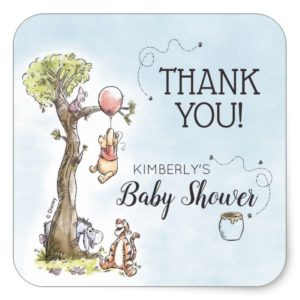 Pooh & Friends Watercolor   Baby Shower Thank You Square Sticker