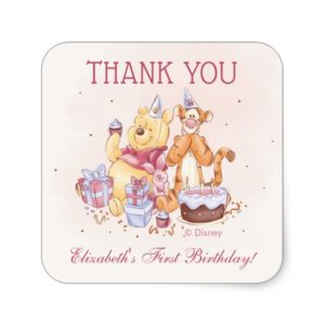 Pooh & Friends Watercolor    Birthday Thank You Square Sticker