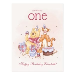 Pooh & Friends Watercolor | First Birthday Postcard
