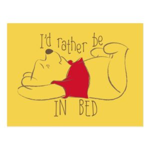 Pooh   I'd Rather Be in Bed Postcard