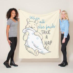 Pooh   Take a Nap Quote Fleece Blanket