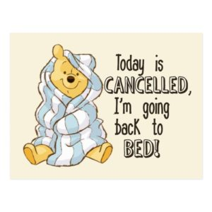 Pooh   Today is Cancelled Quote Postcard
