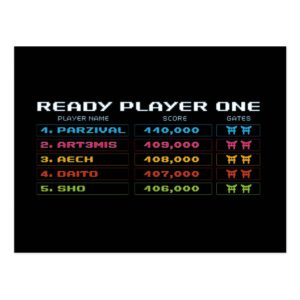 Ready Player One   High Score Leaderboard Postcard