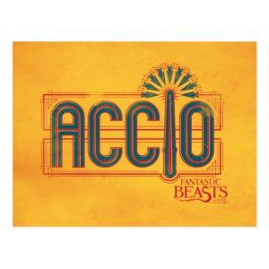 Red Art Deco ACCIO™ Spell Graphic Postcard