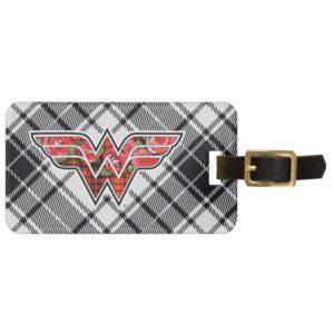 Red Roses and Plaid Wonder Woman Logo Bag Tag