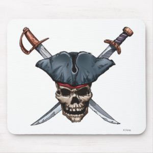 Skulle and Cross Swords with Pirate Hat Disney Mouse Pad