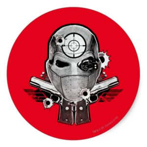 Suicide Squad | Deadshot Mask & Guns Tattoo Art Classic Round Sticker