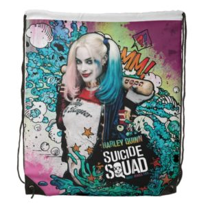 Suicide Squad   Harley Quinn Character Graffiti Drawstring Backpack
